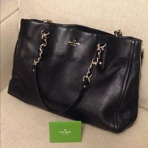 Kate Spade black leather shoulder bag.